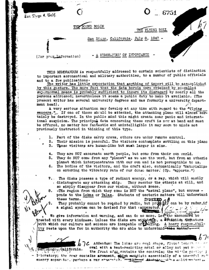 Pagina del documento declassificato dall'FBI