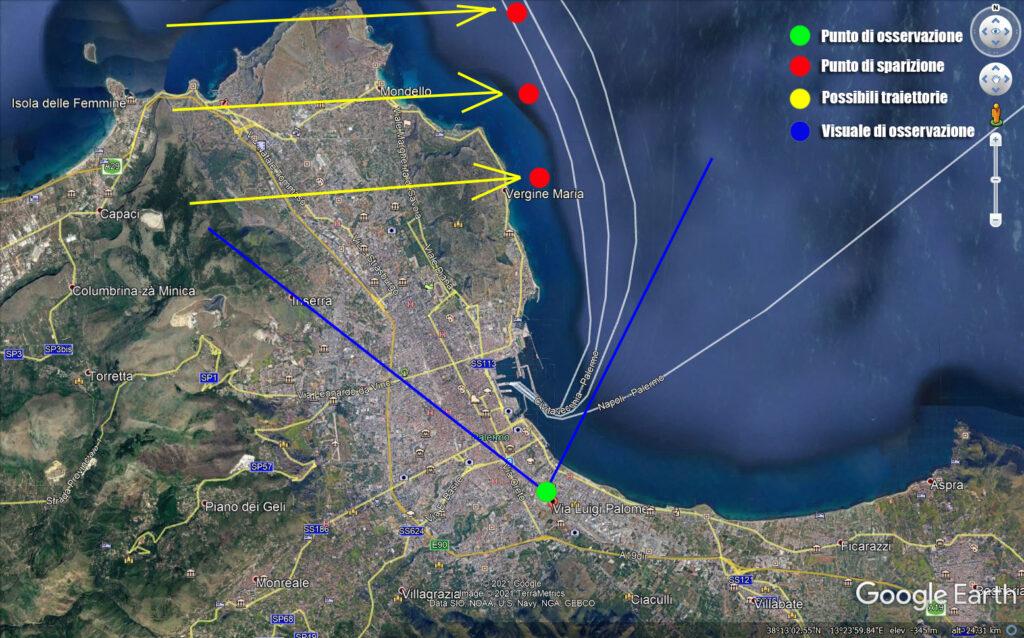 Strane Luci sulle coste di Palermo del 9 aprile 2020 da google